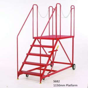 Easy Rise Red Painted Truck dock steps