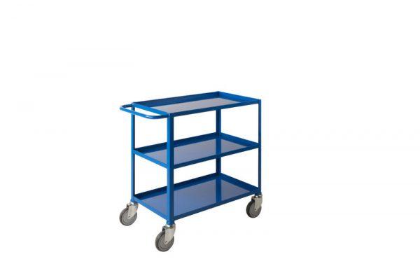 Low Cost Tray Trolleys 3 tier Blue