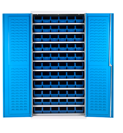 BCS72 Bin Cabinets - Shelf Support 11 shelves 66 bins
