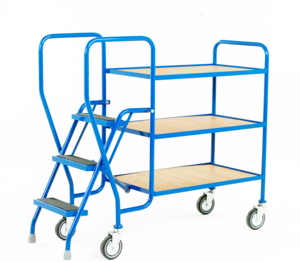 Step Tray Trolley - 3 step - Fixed plywood trays
