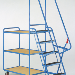 heavy duty step tray trolley fixed ply shelves
