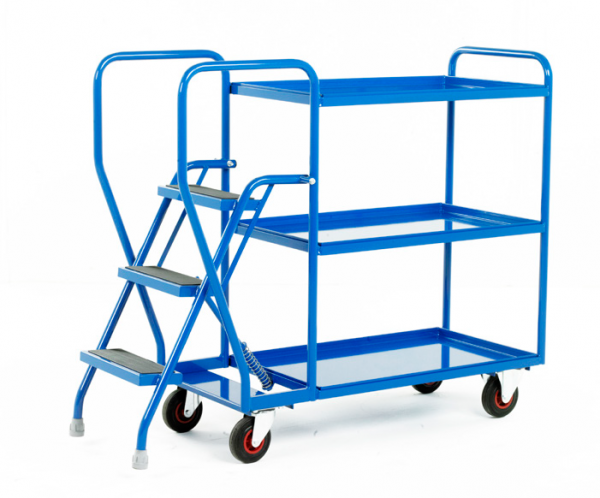 Step Tray Trolley - 3 step - Fixed steel trays
