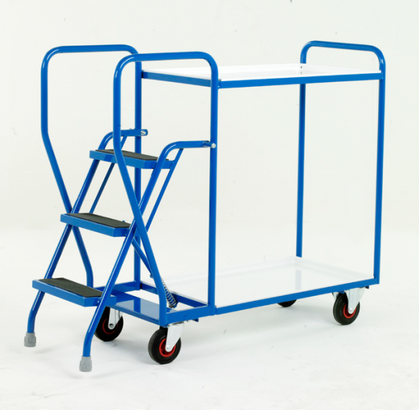Step Tray Trolley - 3 step - removable steel trays