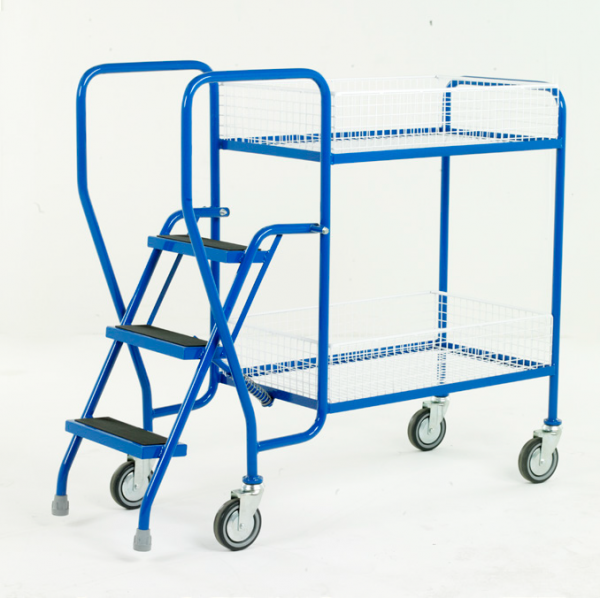 Step Tray Trolley - 3 step - Removable wire trays