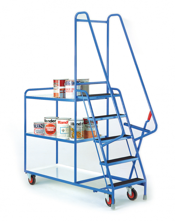 heavy duty step tray trolley reversible white trays