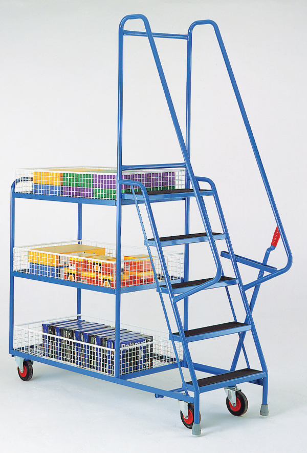 heavy duty step tray trolley removable wire trays