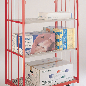Narrow aisle shelf truck - 2 mesh sides