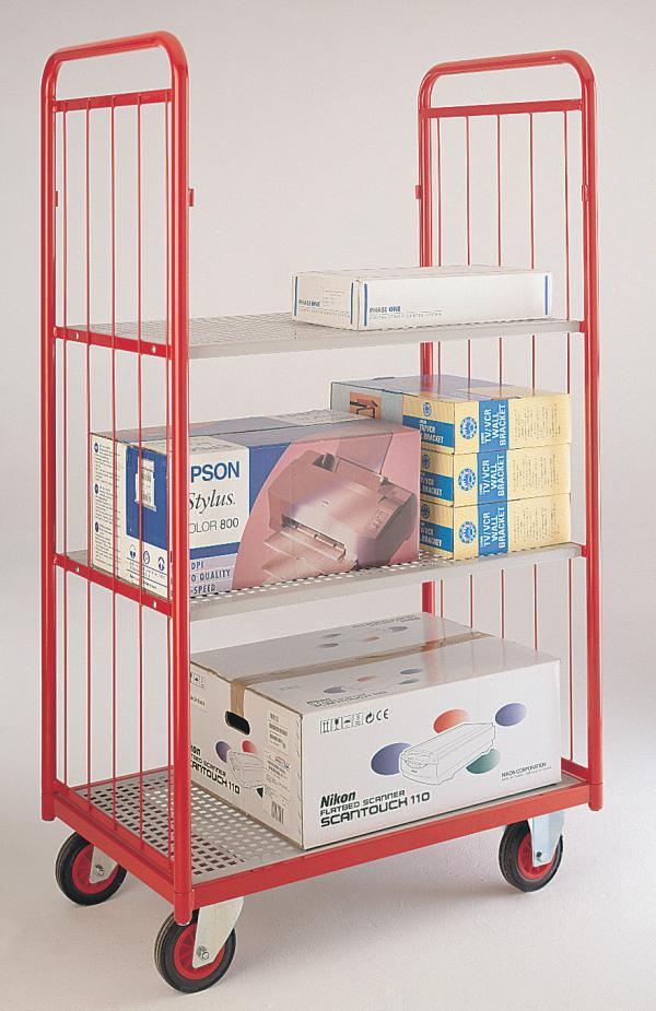 Narrow aisle shelf truck - 2 mesh sides