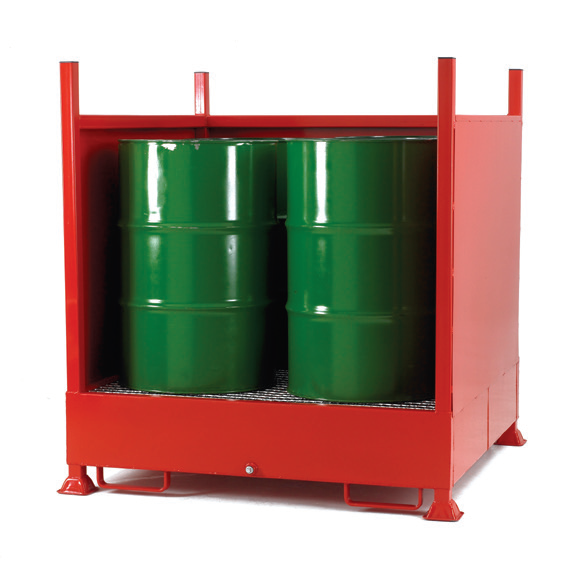 Drum Sump with back and 2 sides for 4 vertical drums
