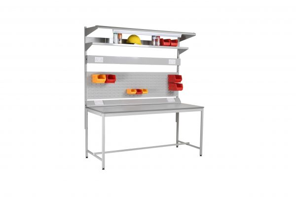 Square tube flat pack workbench with accessories