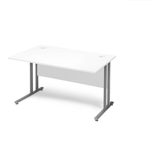 Flexus Rectangular Cantilever Leg Office Desk - White