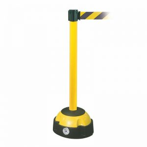 Post Mounted Belt Barrier Yellow and Black